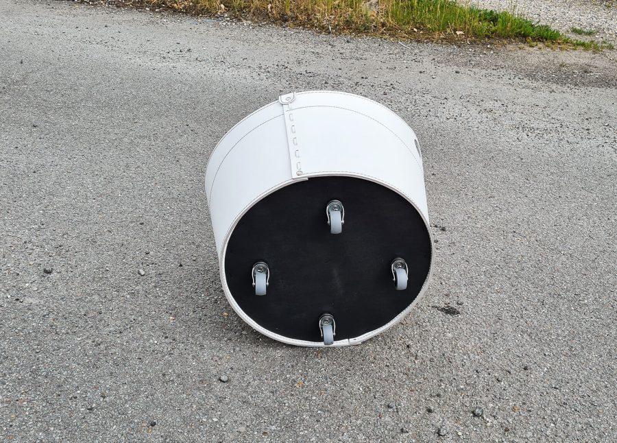 læder brændekurv med hjul