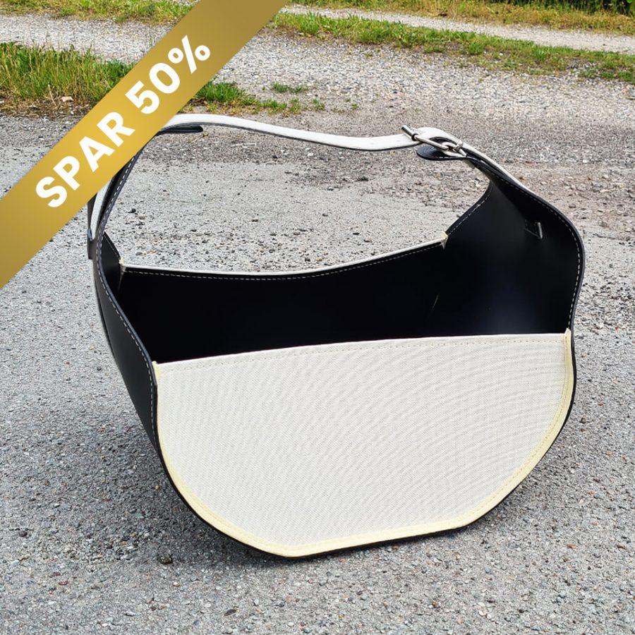 Brændekurv sort hvid i læder